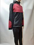 Ххл, 3хл, р. Теплый мужской спортивный костюм с капюшоном  Черный с бордовыми вставками, фото 4