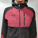 Ххл, 3хл, р. Теплый мужской спортивный костюм с капюшоном  Черный с бордовыми вставками, фото 10