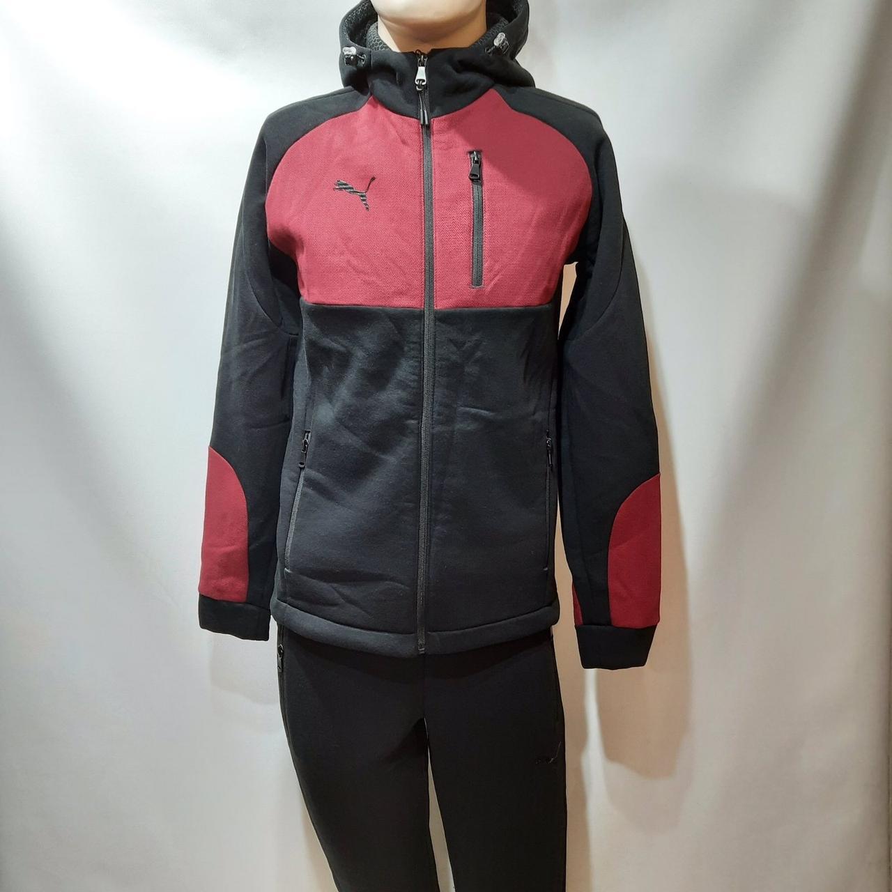 Теплый мужской спортивный костюм с капюшоном  Черный с бордовыми вставками
