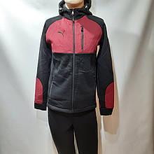 Ххл, 3хл, р. Теплий чоловічий спортивний костюм з капюшоном Чорний з бордовими вставками