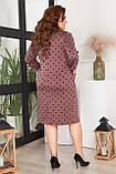 Платье женское большого размера, размер 52, ( 52, 54, 56, 58 ) платье весна-осень, цвет шоколад в горох, фото 3