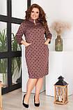 Платье женское большого размера, размер 52, ( 52, 54, 56, 58 ) платье весна-осень, цвет шоколад в горох, фото 4