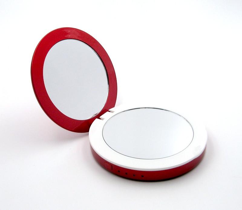 УМБ Power Bank  SmartMirror 3000Mah с косметическим зеркалом и LED подсветкой Красный (MP-L2-R)