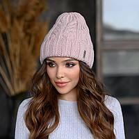 В'язана шапка Мілані колір пудра