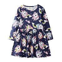 Платье для девочки Разноцветные единороги Jumping Meters (2 года)