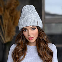 Вязанная шапка Милания цвет светло-серый