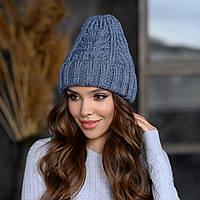Вязанная шапка Милания цвет джинс