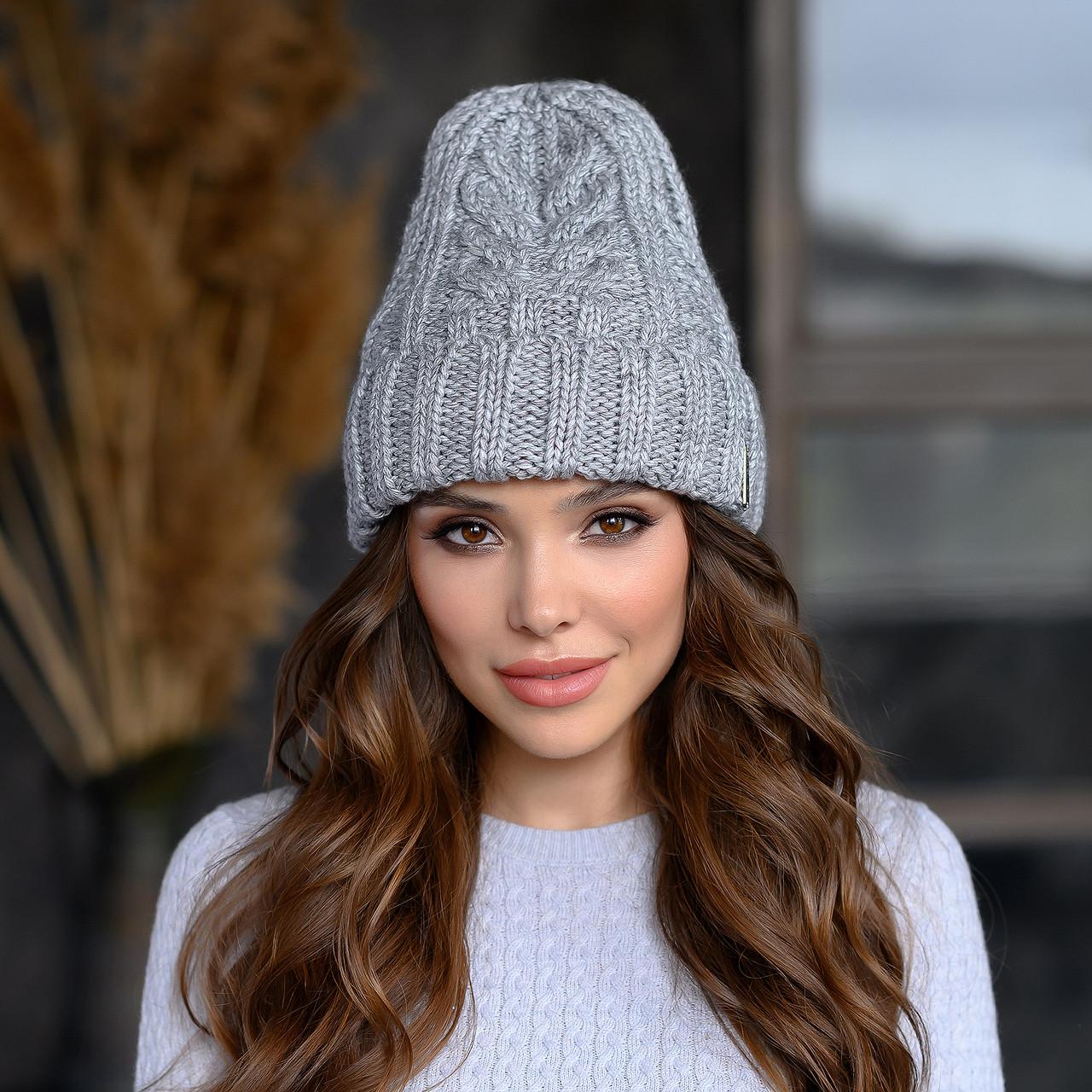 В'язана шапка Мілані колір сірий