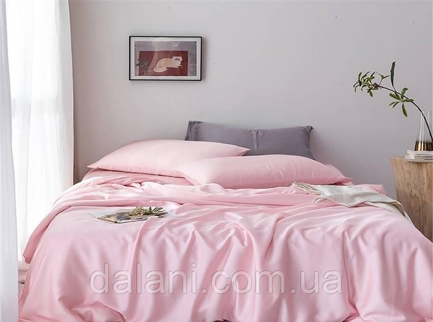 Пудровый евро макси комплект постельного белья из сатина