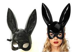 Милые уши зайца, Маска кролика PlayBoy, черная глянец 38см!