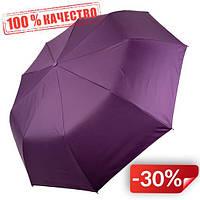 Женский складной зонт-полуавтомат Flagman с двойной тканью с принтом цветов и бабочек Фиолетовый (515F-1)