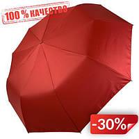 Женский складной зонт-полуавтомат Flagman с двойной тканью с принтом цветов и бабочек Красный (515F-3)