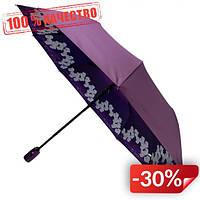 Женский складной зонт-полуавтомат Flagman с двойной тканью с принтом орхидей Фиолетовый (516-3)