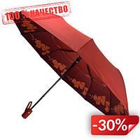 Женский складной зонт-полуавтомат Flagman с двойной тканью с принтом орхидей Красный (516-5)
