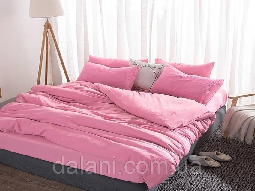 Розовый евро макси комплект постельного белья из сатина