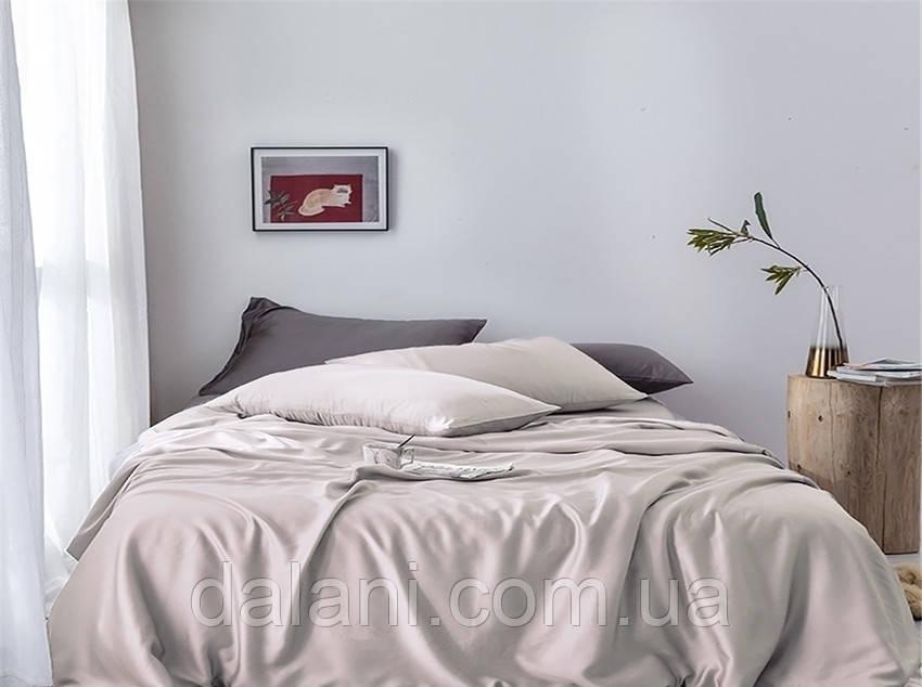 Бежевый евро макси комплект постельного белья из сатина
