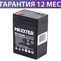 Аккумуляторная батарея 6 вольт 4.5Ач Maxxter MBAT-6V4.5AH, 47x70x100 мм, аккумулятор для ибп/бесперебойника