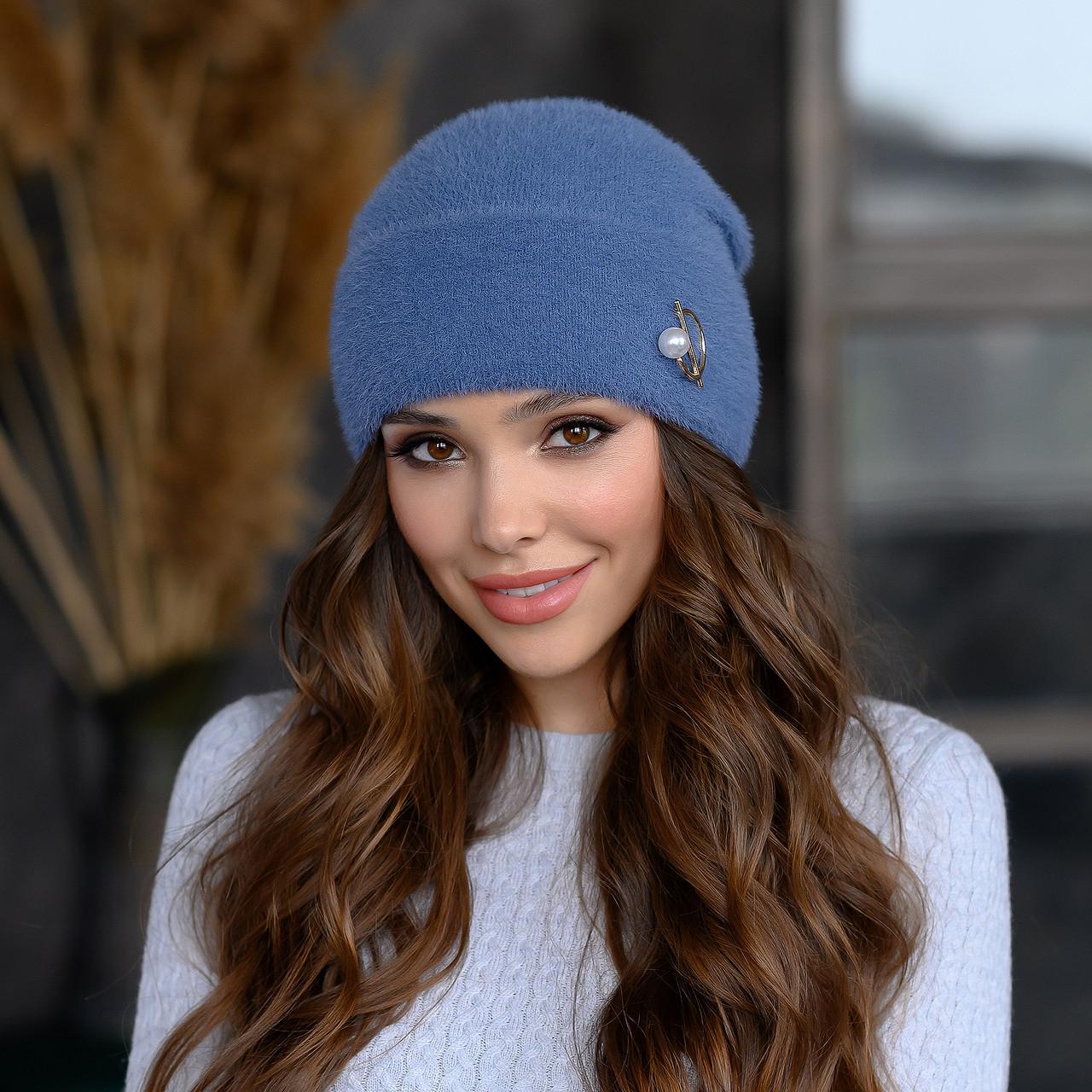 "В'язана шапка ""Юліана"" колір-синій"