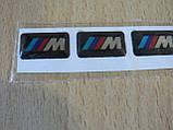 Наклейка s силиконовая надпись BMW 3M три полосы /// М набор 4шт размером 18х10х1мм каждая на авто БМВ, фото 2
