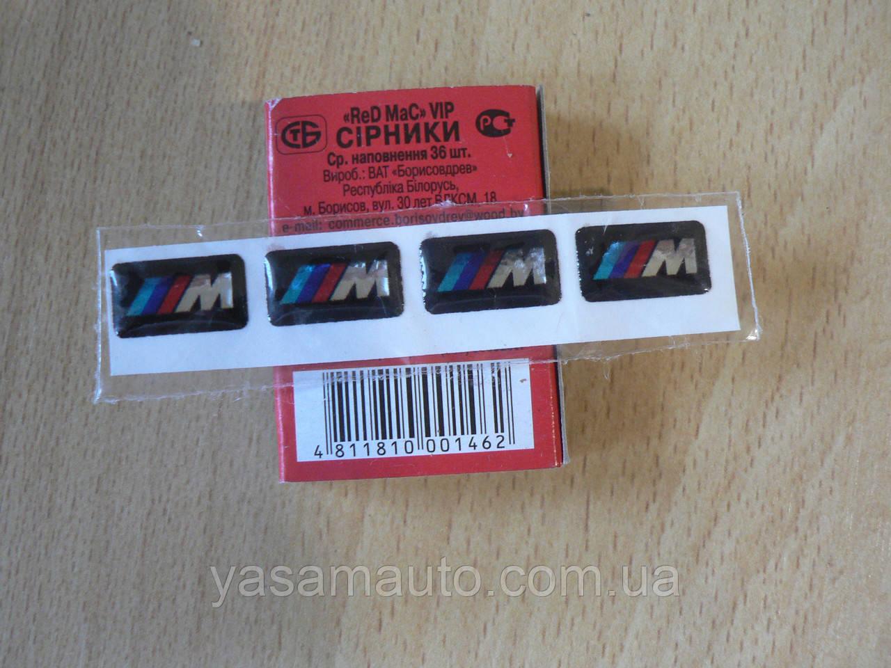 Наклейка s силиконовая надпись BMW 3M три полосы /// М набор 4шт размером 18х10х1мм каждая на авто БМВ