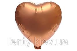 """Серце фольговані металік 18""""/45см.-надувши повітрям - Бронза, сатин"""