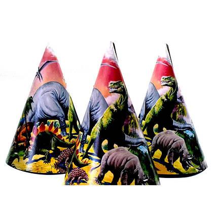 Колпачки праздничные детские Динозавры 10 шт 16 см