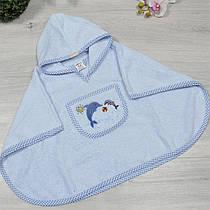Рушник з капюшоном для купання, махра (90% cotton, 10% micropoly), розмір 1-2, 2-3, 3-4 року (3 од в уп), Блакитний