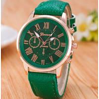 Женские наручные часы GENEVA на ремешке из эко-кожи зеленого цвета с римскими цифрами на циферблате