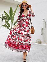 Платье женское в стиле Бохо Red peony Berni Fashion (S)