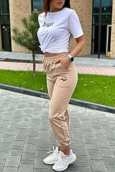 Спортивный костюм женский футболка и штаны на манжетах  - бежевый цвет, S, M, L