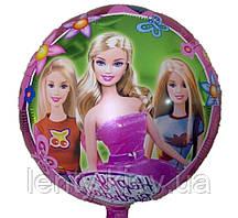 """Фольгований повітряна кулька круглий """"Барбі"""". 45см"""