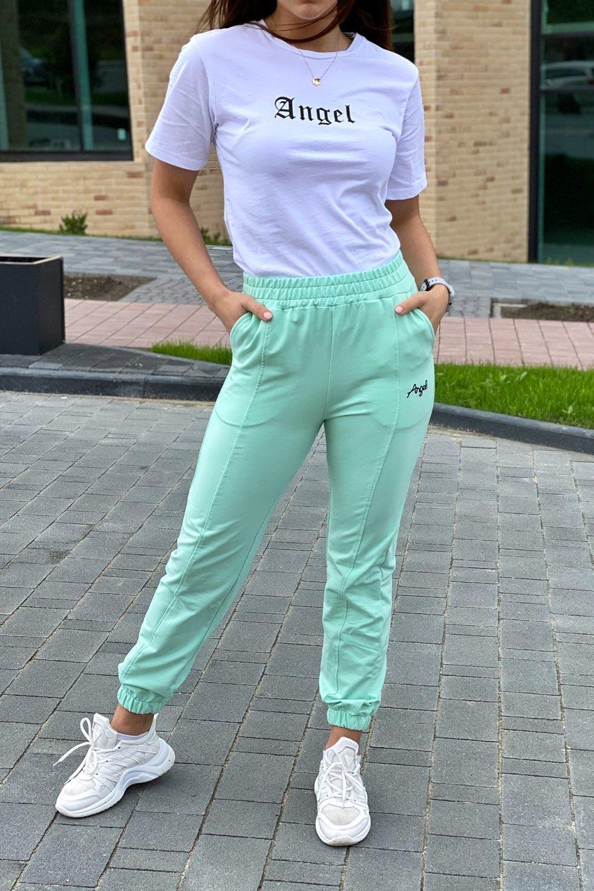 Спортивный женский костюм футболка и штаны на манжетах. Цвет мятный. Размер S, M, L