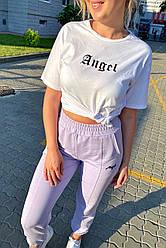 Спортивный женский костюм футболка и штаны на манжетах. Цвет лавандовый. Размер S, L
