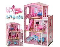Кукольный домик, домик для кукол деревянный BAMBIMD 2413 три этажа и мебель 11/102.5