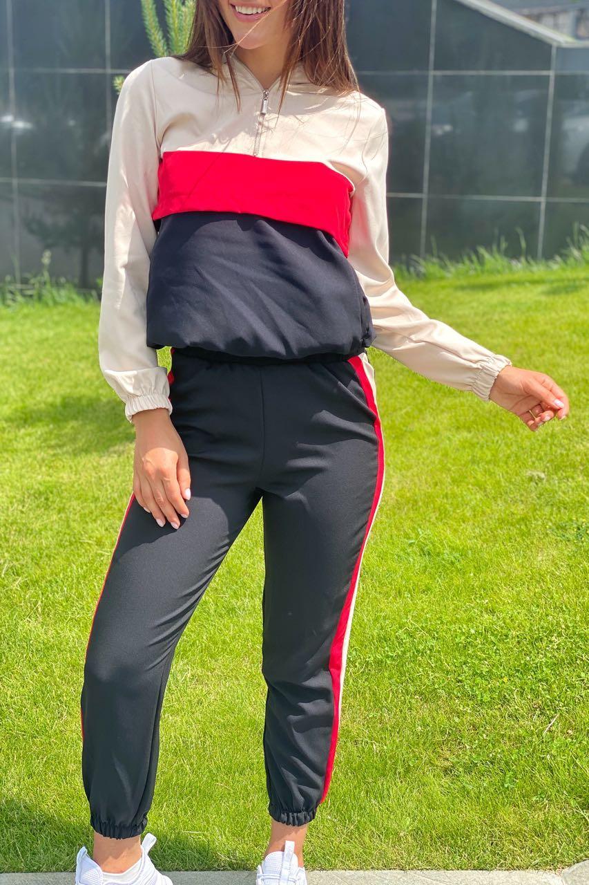 Трендовий жіночий спортивний костюм. Худі і джогеры. Колір бежевий. Розмір 36, 38, 44