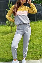 Женский трендовый спортивный костюм. Худи и джогеры. Цвет горчичный. Размер 36, 38, 40, 42, 44