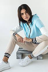 Спортивный женский костюм двойка. Бомбер и джоггеры. Цвет голубой. Размер S, M, L