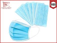 Маски медицинские 100 шт. голубые одноразовые трехслойные защитные для лица на резинке с фиксатором