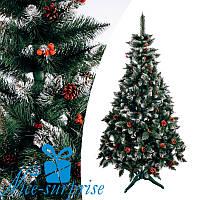 Искусственная ель РОЖДЕСТВЕНСКАЯ с белыми кончиками, шишками и калиной красной 200 см, фото 1