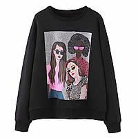 Свитшот женский oversize с принтом Girls Berni Fashion (S)