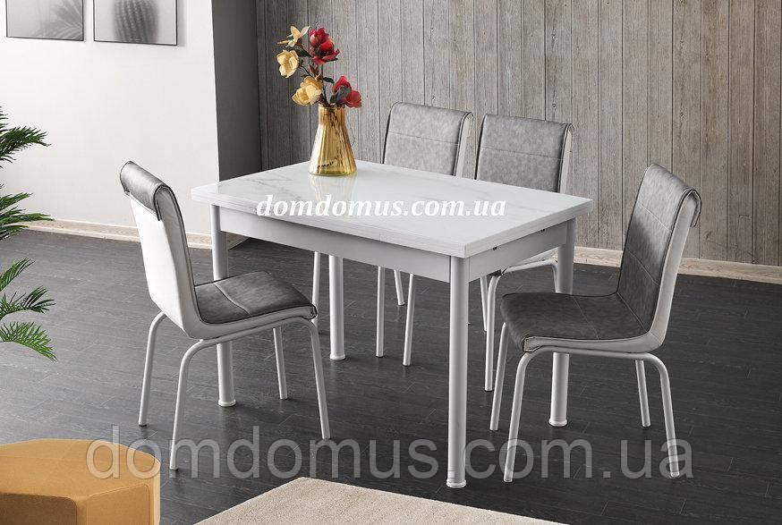 """Комплект обеденной мебели """"Серый мрамор"""" (стол ДСП, каленное стекло + 4 стула) Лидер, Турция"""