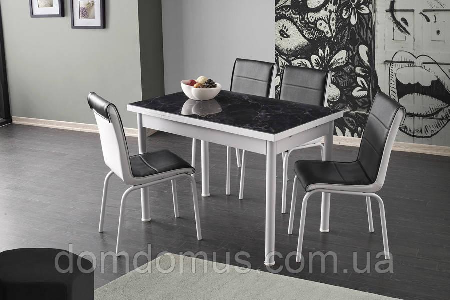 Комплект кухонной  мебели цвет черный (стол ДСП, каленное стекло + 4 стула) Лидер, Турция