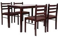 Обеденный комплект Брауни темный шоколад/капучино (стол+4 стула), TM AMF