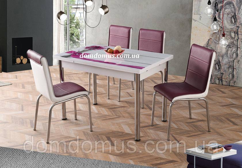 """Комплект кухонних меблів """"Лаванда"""" (стіл ДСП, гартоване скло + 4 стільця) Лідер, Туреччина"""