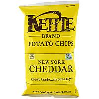 ОРИГІНАЛ!Kettle Foods,Картопляні чіпси,зі смаком нью-йоркський чеддер 142 грам виробництва США