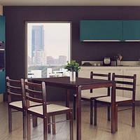 Обеденный комплект Брауни темный шоколад/латте (стол+4 стула), TM AMF