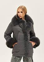 Модная зимняя женская куртка пуховик из плащевки с опушкой из песца серый