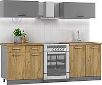 Готовая кухня 1,6 метра (вверх графит, низ дуб крафт золотой), кухонный гарнитур hotdeal