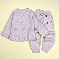 Вязаный костюм кофта и штаны для девочки бежевый тм MissOlix размер 2,3,4,5 лет