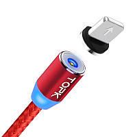 TOPK AM23. Магнітний кабель 360° USB 2.0 роз'єм для зарядки IPhone. Червоний, фото 1